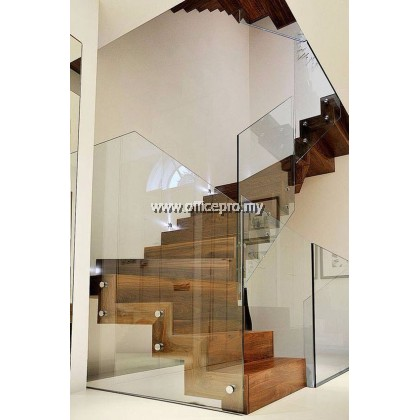 IPGRSN-12 12MM TEMPERED GLASS RAILING-STAIRCASE (FRAMELESS C/W NUT STYLE)