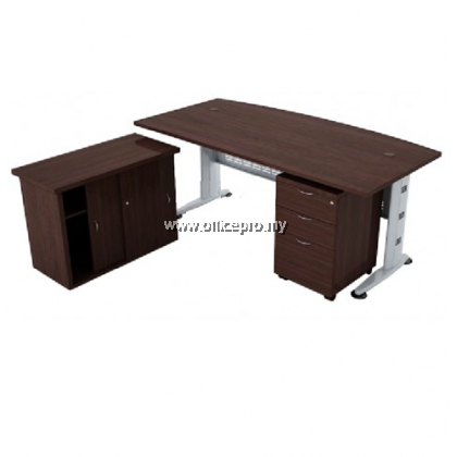 IPQMB 180A Curve Front Executive Table With Side Cabinet And Mobile Pedestal 2 Drawer 1 Filing (2D1F)