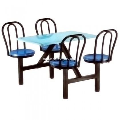 IPFG4-02 4 Seater Fiberglass Table With Backrest (Non-Swivel)