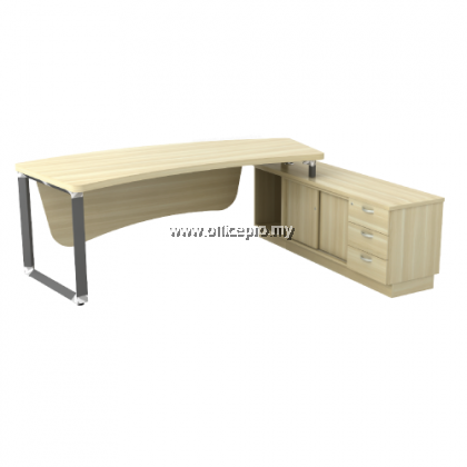Director Table With Side Cabinet 3D I Office Table I IPQ-OX 2463