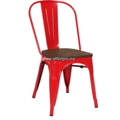Tolix Metal Chair With Wooden Seat l Cafe Chair l IPMDC-02/WS
